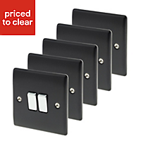 British General 10A 2 way Black Double Light Switch, Pack of 5