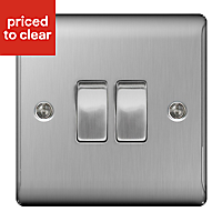 Nexus 10A 2 way Stainless steel effect Double Light Switch, Pack of 5