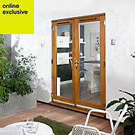 Clear Solid laminated oak External French Door set, (H)2105mm (W)1205mm