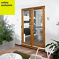 Clear Solid laminated oak External French Door set, (H)2105mm (W)1505mm
