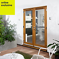 Clear Solid laminated oak External French Door set, (H)2105mm (W)1805mm