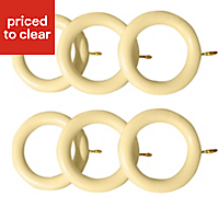 Colours Cream Curtain ring (Dia)35mm, Pack of 6