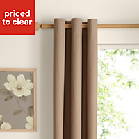Zen Seine Plain Unlined Eyelet Curtains (W)167cm (L)183cm, Pair
