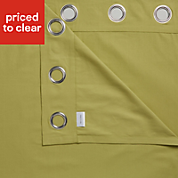 Zen Lime Plain Unlined Eyelet Curtains (W)167cm (L)228cm, Pair