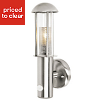 Blooma Arundell Brushed Stainless steel effect Halogen PIR Outdoor Lantern 42W