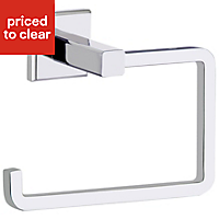 Cooke & Lewis Linear Silver Chrome effect Toilet roll holder, (W)140mm