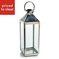 Colours Chrome effect Glass & steel Hurricane lantern, Extra large