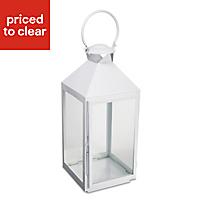 Colours White Iron & glass Hurricane lantern, Large