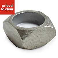 Colours Brushed nickel effect Hexagonal Aluminium Tea light holder