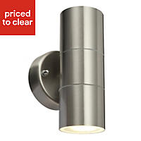 Blooma Somnus Stainless steel effect Mains-powered LED Outdoor Wall light