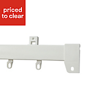 Corded White Fixed Curtain track, (L)2.1m