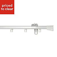 Uncorded White Fixed Curtain track, (L)2.1m