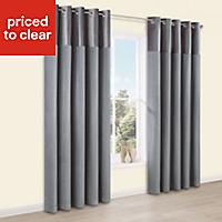 Linnet Concrete Panelled Lined Eyelet Curtains (W)117cm (L)137cm, Pair