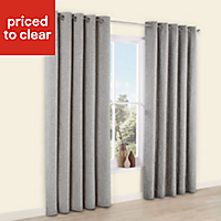 Thornbury Grey Chenille Eyelet Lined Curtains (W)117 cm (L)137 cm
