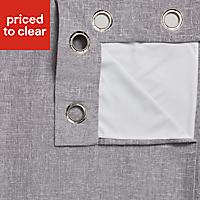 Thornbury Grey Lined Eyelet Curtains (W)117cm (L)137cm, Pair