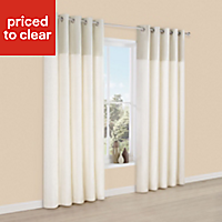Linnet Limestone Panelled Lined Eyelet Curtains (W)228cm (L)228cm, Pair