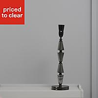 Serena Stacked Black Chrome effect Halogen Table lamp base