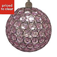 Colours Zoe Light pink Crystal effect Beaded Light shade (D)250mm