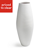 Colours White Lacquered Bamboo Barrel vase