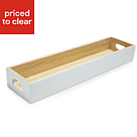 Bamboo Tray, White Lacquered