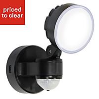 Blooma Stata Adjustable Matt Black LED PIR Outdoor Security light 8W