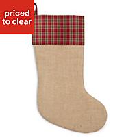 Hessian & red tartan Hessian & tartan Stocking