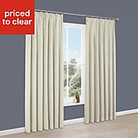 Elva Cream Plain Blackout Pencil pleat Blackout Curtains (W)167 cm (L)183 cm
