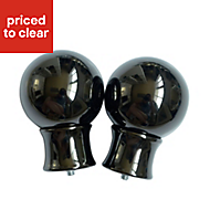 Knole Black Nickel effect Metal Ball Curtain finial (Dia)28mm, Pack of 2