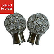 Flowerdon Stainless steel effect Metal Ball (Dia)28mm Curtain pole finial, Pack of 2