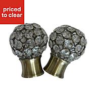 Flowerdon Antique brass effect Metal Ball Curtain finial (Dia)28mm, Pack of 2