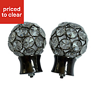 Flowerdon Black Nickel effect Metal Ball (Dia)28mm Curtain pole finial, Pack of 2