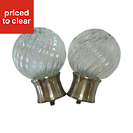 Whirley Stainless steel effect Glass Ball Curtain finial (Dia)28mm, Pack of 2