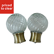 Whirley Antique brass effect Glass Ball Curtain finial (Dia)28mm, Pack of 2