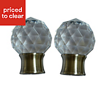Flete Antique brass effect Acrylic Facet Curtain pole finial (Dia)28mm, Pack of 2