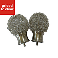 Pallas Stainless steel effect Metal Curtain finial (Dia)28mm, Pack of 2