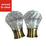 Flete Antique brass effect Acrylic Curtain finial (Dia)35mm, Pack of 2