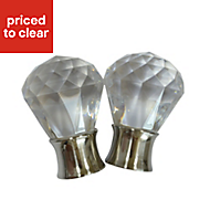 Flete Stainless steel effect Acrylic Curtain finial (Dia)35mm, Pack of 2