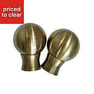 Flete Antique brass effect Metal Ball Curtain finial (Dia)35mm, Pack of 2