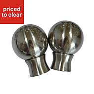 Flete Stainless steel effect Metal Ball Curtain finial (Dia)35mm, Pack of 2