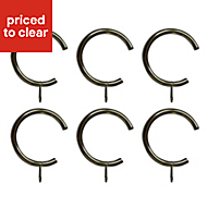 C-shaped Stainless steel effect Metal C-Shaped Curtain ring (Dia)28mm, Pack of 6