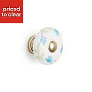 B&Q Green & white Round Bedroom Knob Cabinet handle (W)30 mm