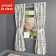 Evania Duck egg Floral Lined Pencil pleat Curtains (W)228cm (L)228cm, Pair