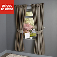 Enara Anthracite Pinstripe Lined Pencil pleat Curtains (W)228cm (L)228cm, Pair