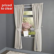 Enara Brown Pinstripe Lined Pencil pleat Curtains (W)228cm (L)228cm, Pair