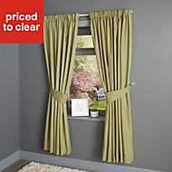 Candra Alep Herringbone Lined Pencil pleat Curtains (W)117cm (L)137cm, Pair