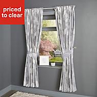 Centola Grey Leaves Lined Pencil pleat Curtains (W)167cm (L)228cm, Pair