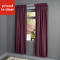 Durene Purple Plain Blackout Pencil pleat Curtains (W)117cm (L)137cm, Pair