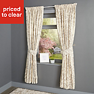 Charde Beige Meadow Lined Pencil pleat Curtains (W)228cm (L)228cm, Pair
