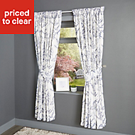 Charde Blue & white Meadow Lined Pencil pleat Curtains (W)167cm (L)183cm, Pair