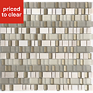 Varese Beige Glass & marble Mosaic tile, (L)309mm (W)306mm
